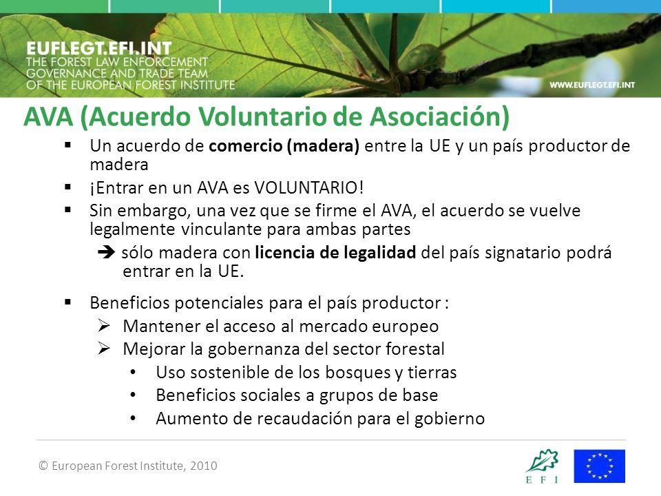 © European Forest Institute, 2010  Un acuerdo de comercio (madera) entre la UE y un país productor de madera  ¡Entrar en un AVA es VOLUNTARIO.