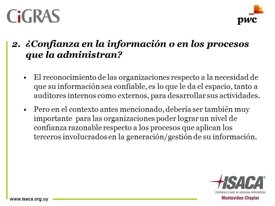 www.isaca.org.uy El reconocimiento de las organizaciones respecto a la necesidad de que su información sea confiable, es lo que le da el espacio, tanto a auditores internos como externos, para desarrollar sus actividades.