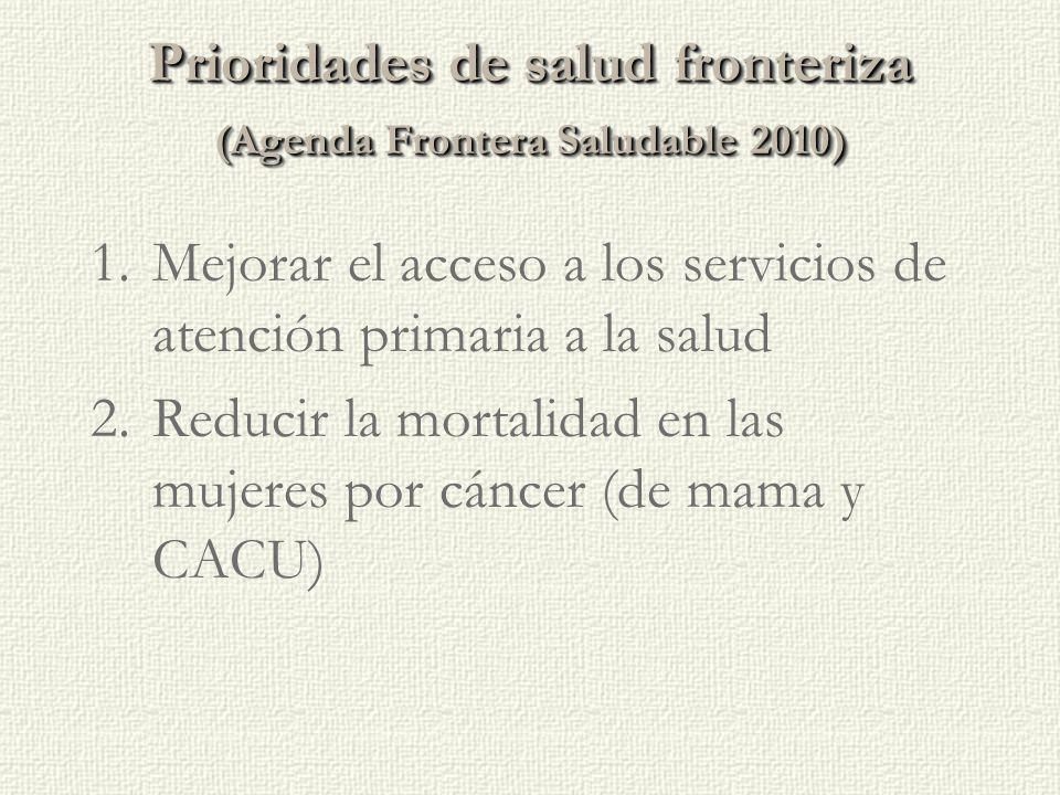 Prioridades de saludfronteriza (Agenda Frontera Saludable 2010) Prioridades de salud fronteriza (Agenda Frontera Saludable 2010) 1.Mejorar el acceso a los servicios de atención primaria a la salud 2.Reducir la mortalidad en las mujeres por cáncer (de mama y CACU)