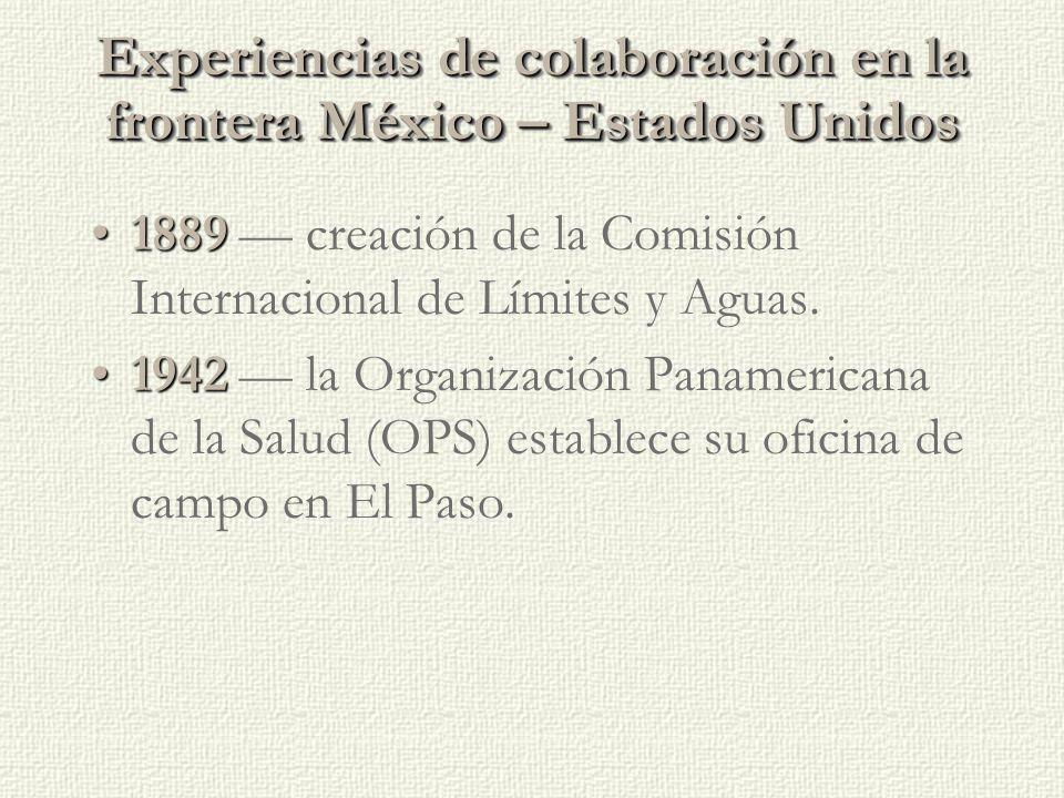 Experiencias de colaboración en la frontera México – Estados Unidos 18891889 — creación de la Comisión Internacional de Límites y Aguas.