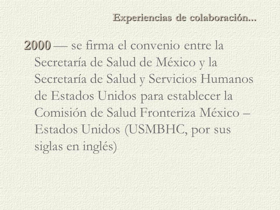 2000 2000 — se firma el convenio entre la Secretaría de Salud de México y la Secretaría de Salud y Servicios Humanos de Estados Unidos para establecer la Comisión de Salud Fronteriza México – Estados Unidos (USMBHC, por sus siglas en inglés) Experiencias de colaboración...