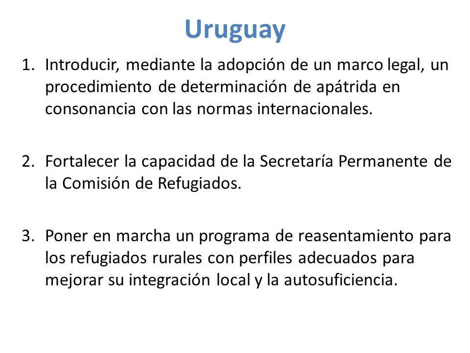 Uruguay 1.Introducir, mediante la adopción de un marco legal, un procedimiento de determinación de apátrida en consonancia con las normas internacionales.