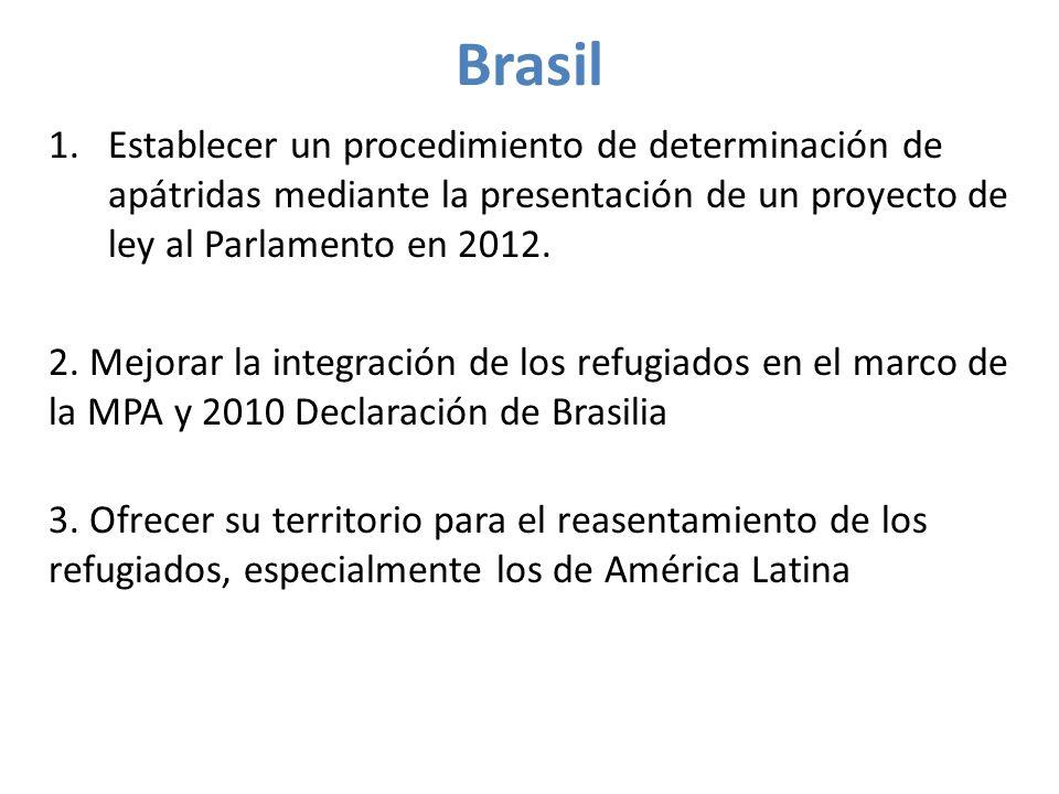 Brasil 1.Establecer un procedimiento de determinación de apátridas mediante la presentación de un proyecto de ley al Parlamento en 2012.