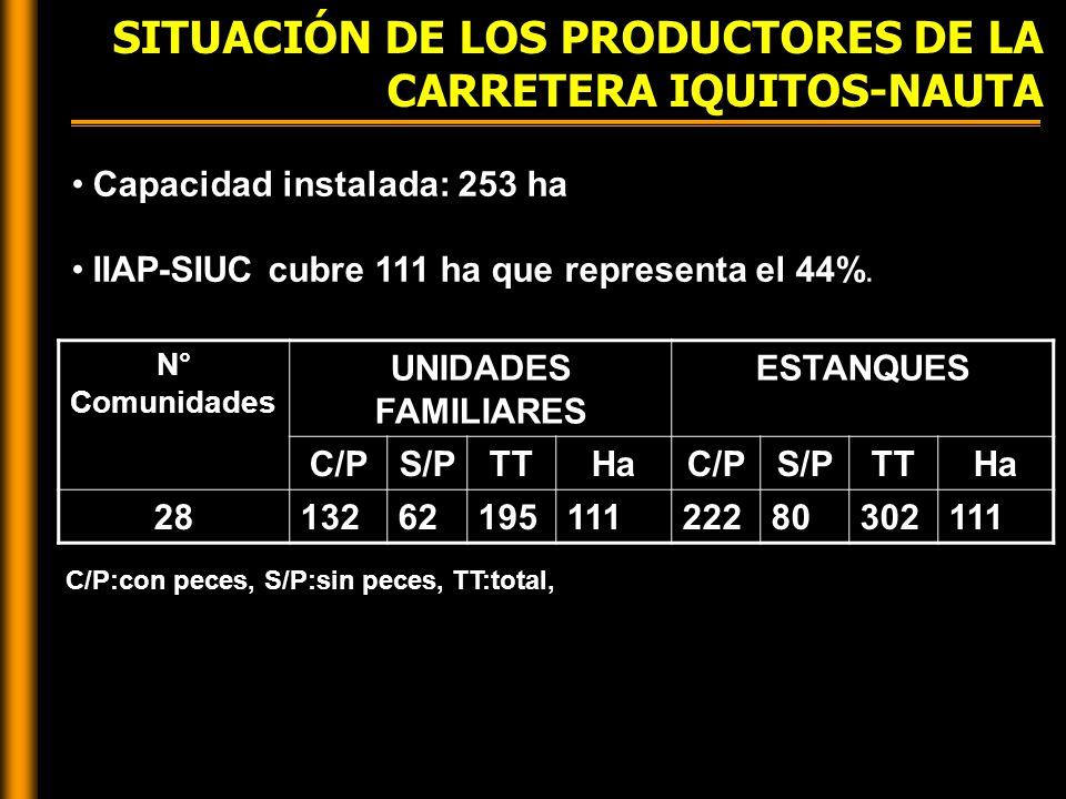 SITUACIÓN DE LOS PRODUCTORES DE LA CARRETERA IQUITOS-NAUTA C/P:con peces, S/P:sin peces, TT:total, Capacidad instalada: 253 ha IIAP-SIUC cubre 111 ha que representa el 44%.