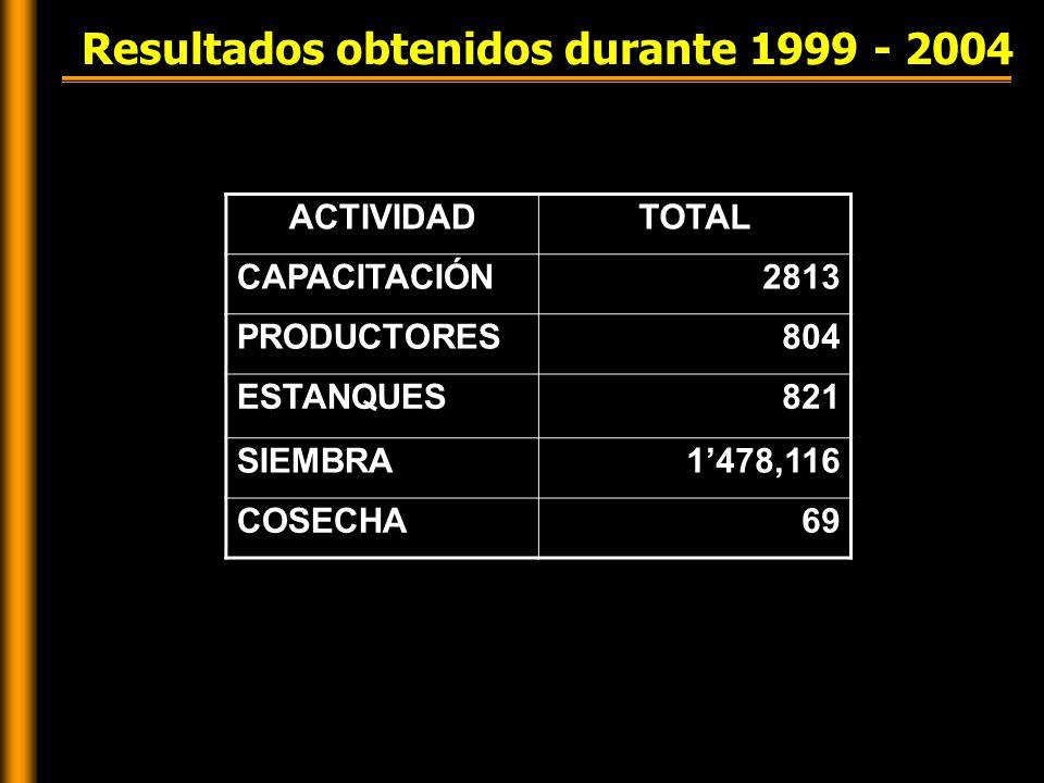 Resultados obtenidos durante 1999 - 2004 ACTIVIDADTOTAL CAPACITACIÓN2813 PRODUCTORES804 ESTANQUES821 SIEMBRA1'478,116 COSECHA69