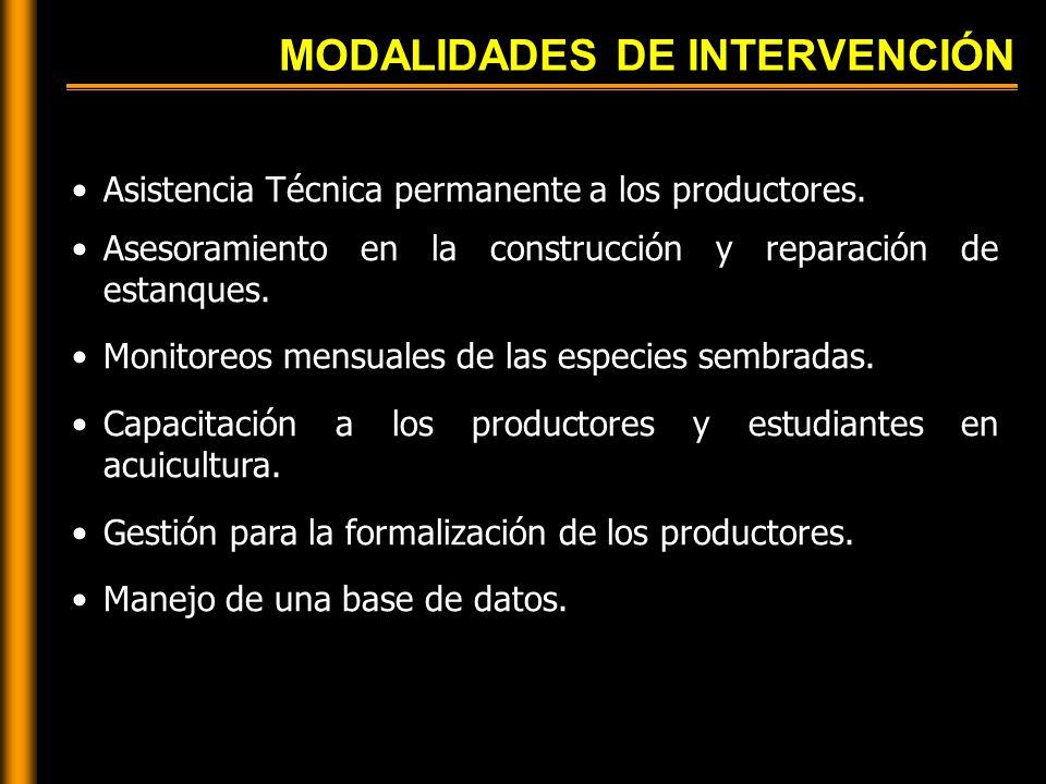 MODALIDADES DE INTERVENCIÓN Asistencia Técnica permanente a los productores.