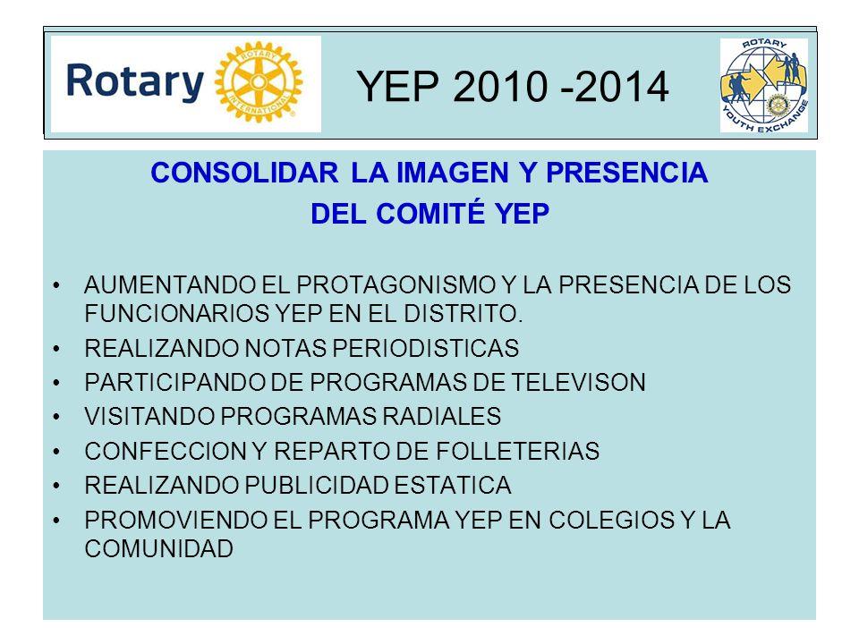 Rota YEP 2010 -2014 CONSOLIDAR LA IMAGEN Y PRESENCIA DEL COMITÉ YEP AUMENTANDO EL PROTAGONISMO Y LA PRESENCIA DE LOS FUNCIONARIOS YEP EN EL DISTRITO.