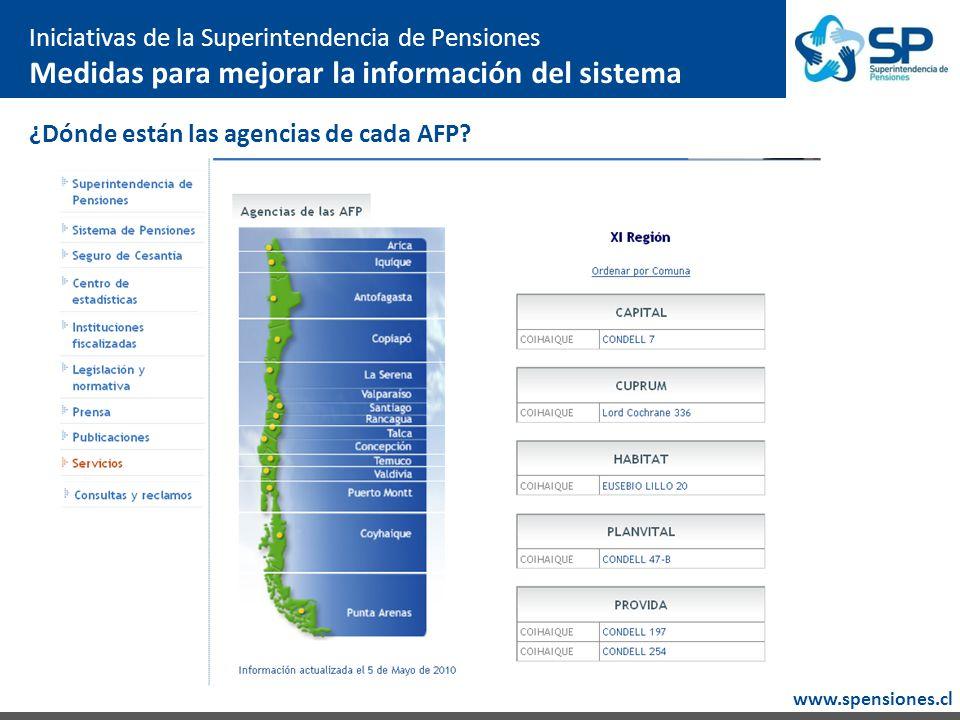 www.spensiones.cl ¿Dónde están las agencias de cada AFP.