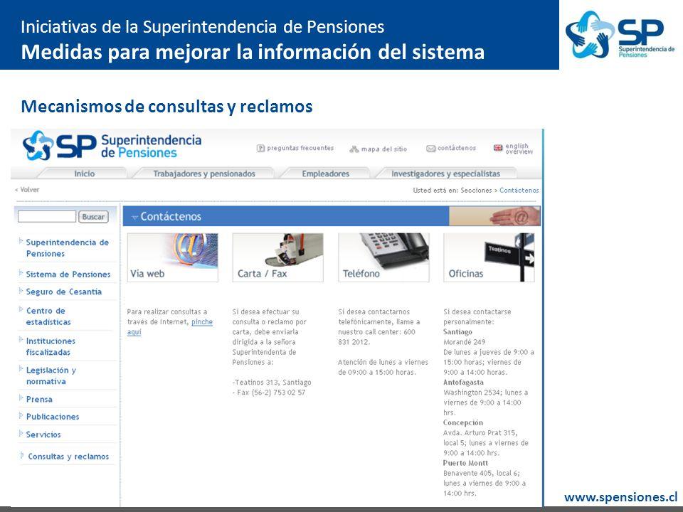 www.spensiones.cl Mecanismos de consultas y reclamos Iniciativas de la Superintendencia de Pensiones Medidas para mejorar la información del sistema