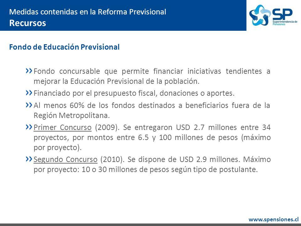 www.spensiones.cl Medidas contenidas en la Reforma Previsional Recursos Fondo de Educación Previsional Fondo concursable que permite financiar iniciativas tendientes a mejorar la Educación Previsional de la población.