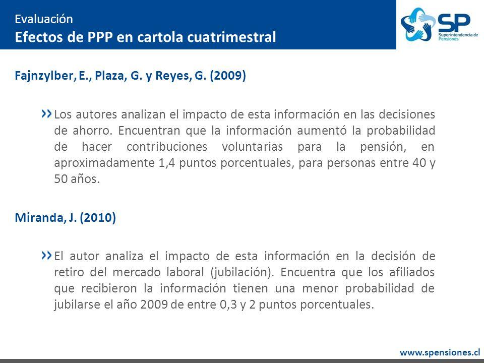 www.spensiones.cl Evaluación Efectos de PPP en cartola cuatrimestral Fajnzylber, E., Plaza, G.
