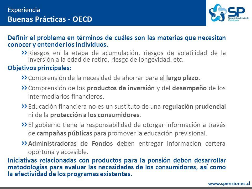 www.spensiones.cl Experiencia Buenas Prácticas - OECD Definir el problema en términos de cuáles son las materias que necesitan conocer y entender los individuos.