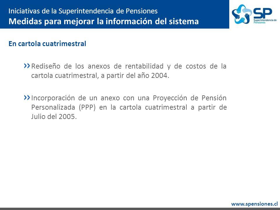 www.spensiones.cl En cartola cuatrimestral Rediseño de los anexos de rentabilidad y de costos de la cartola cuatrimestral, a partir del año 2004.