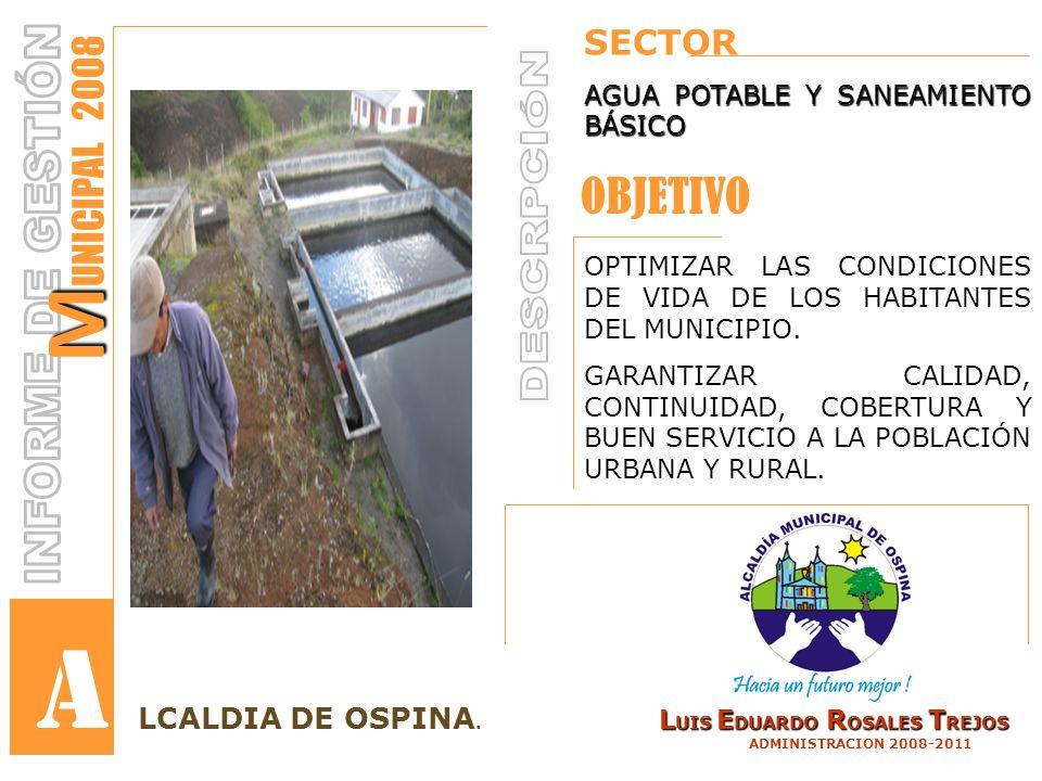 SECTOR AGUA POTABLE Y SANEAMIENTO BÁSICO OPTIMIZAR LAS CONDICIONES DE VIDA DE LOS HABITANTES DEL MUNICIPIO.