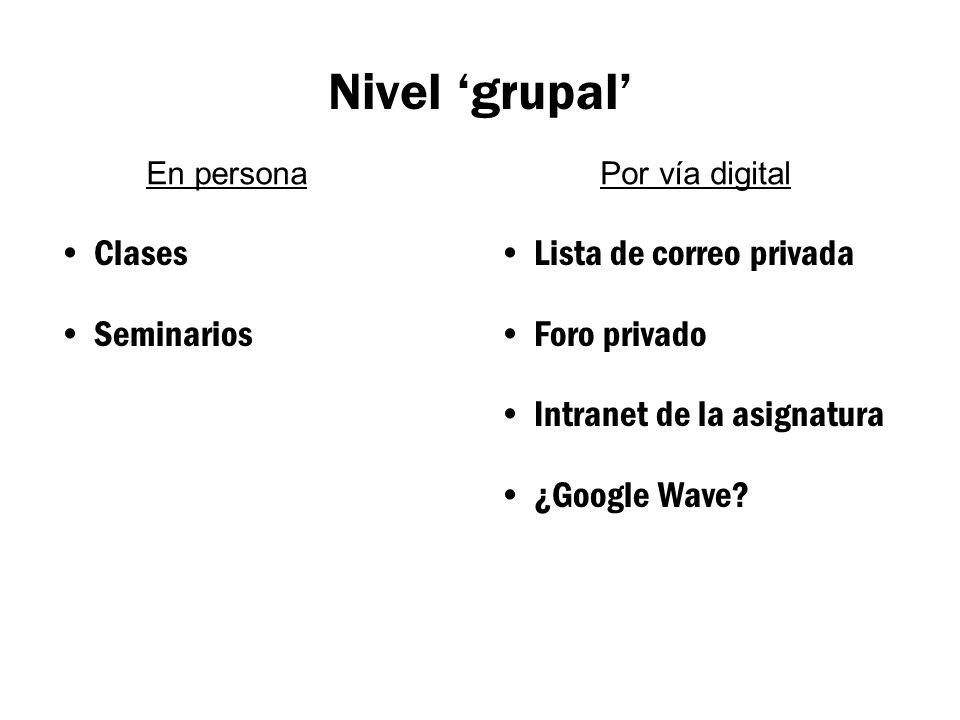 Nivel 'grupal' Clases Seminarios Lista de correo privada Foro privado Intranet de la asignatura ¿Google Wave.