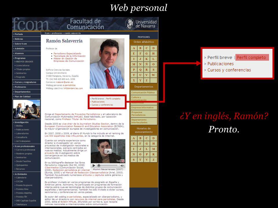Web personal ¿Y en inglés, Ramón Pronto.