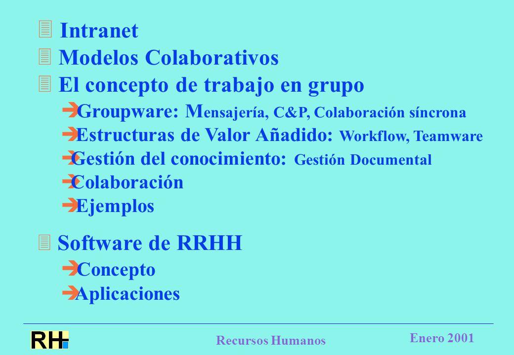 Recursos Humanos Enero 2001  Intranet  Modelos Colaborativos  El concepto de trabajo en grupo  Groupware: M ensajería, C&P, Colaboración síncrona  Estructuras de Valor Añadido: Workflow, Teamware  Gestión del conocimiento: Gestión Documental  Colaboración  Ejemplos  Software de RRHH  Concepto  Aplicaciones