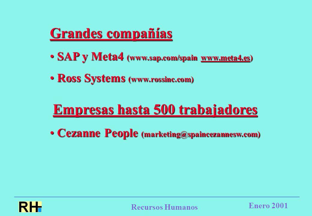 Recursos Humanos Enero 2001 Grandes compañías SAP y Meta4 (www.sap.com/spain www.meta4.es) SAP y Meta4 (www.sap.com/spain www.meta4.es)www.meta4.es Ross Systems (www.rossinc.com) Ross Systems (www.rossinc.com) Empresas hasta 500 trabajadores Empresas hasta 500 trabajadores Cezanne People (marketing@spaincezannesw.com) Cezanne People (marketing@spaincezannesw.com)