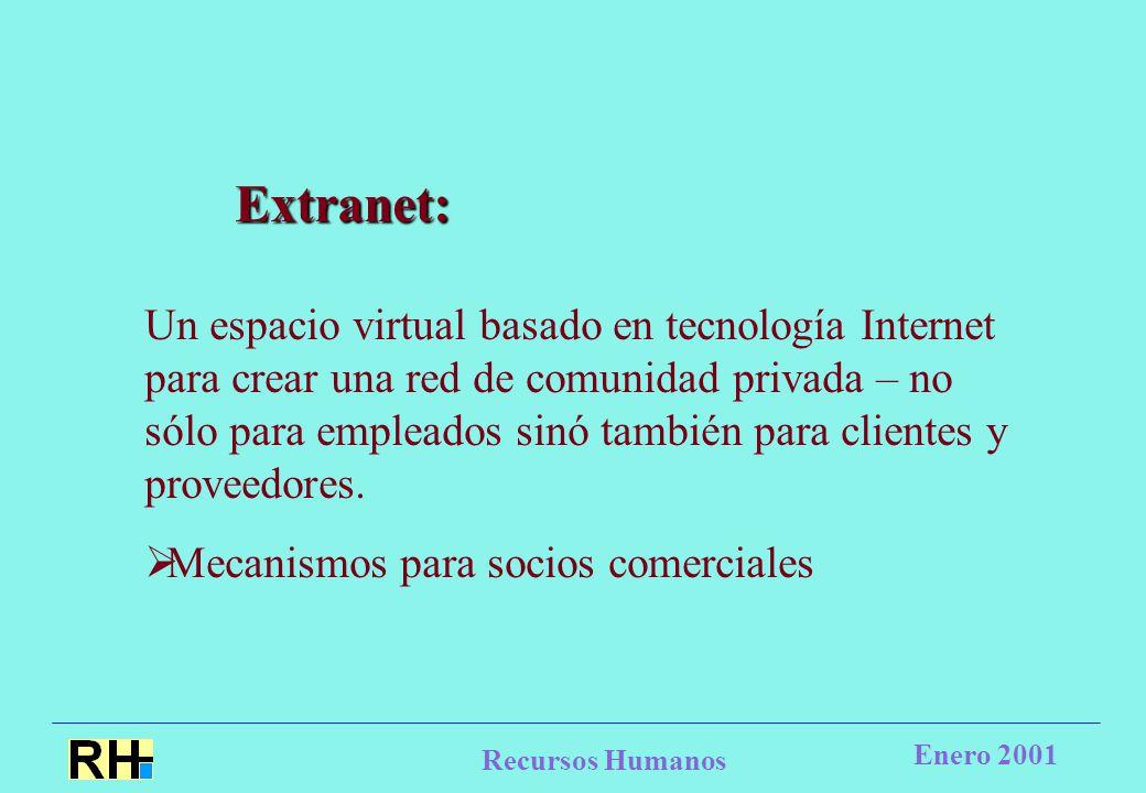 Recursos Humanos Enero 2001 Extranet: Un espacio virtual basado en tecnología Internet para crear una red de comunidad privada – no sólo para empleados sinó también para clientes y proveedores.