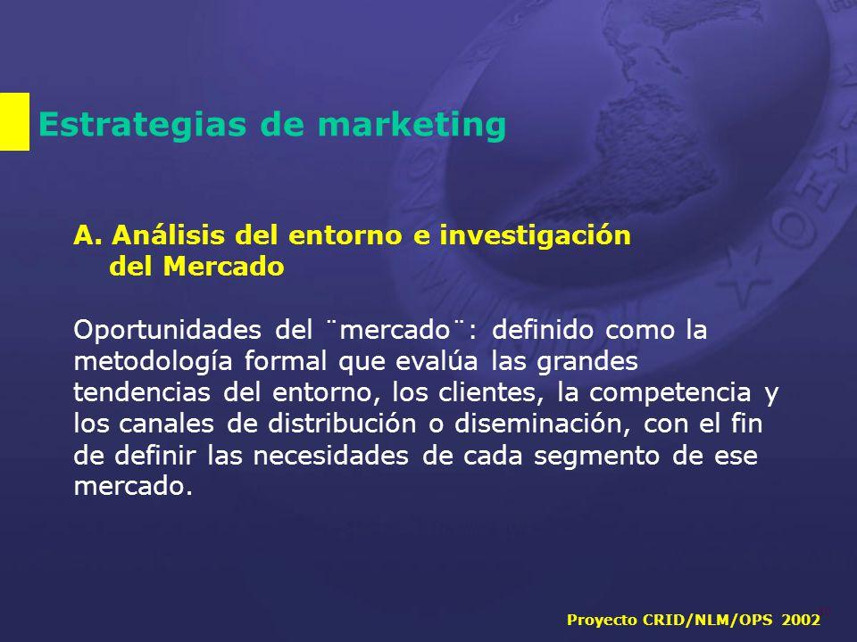 Proyecto CRID/NLM/OPS 2002 10 Estrategias de marketing A.