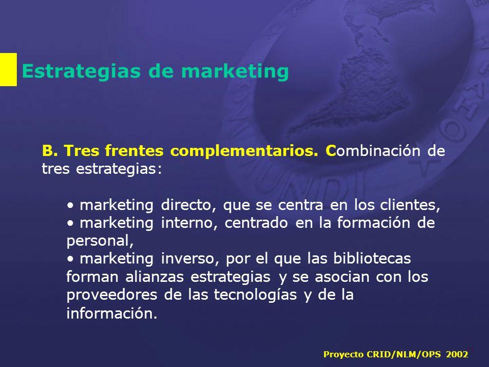 Proyecto CRID/NLM/OPS 2002 11 Estrategias de marketing B.