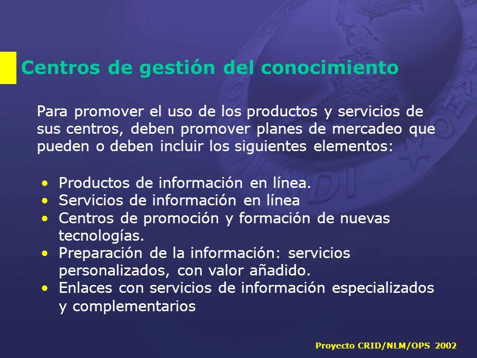 Proyecto CRID/NLM/OPS 2002 18 Centros de gestión del conocimiento Para promover el uso de los productos y servicios de sus centros, deben promover planes de mercadeo que pueden o deben incluir los siguientes elementos: Productos de información en línea.