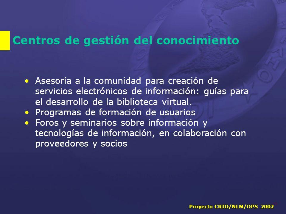 Proyecto CRID/NLM/OPS 2002 19 Centros de gestión del conocimiento Asesoría a la comunidad para creación de servicios electrónicos de información: guías para el desarrollo de la biblioteca virtual.