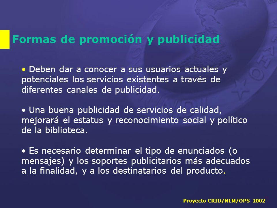 Proyecto CRID/NLM/OPS 2002 20 Formas de promoción y publicidad Deben dar a conocer a sus usuarios actuales y potenciales los servicios existentes a través de diferentes canales de publicidad.