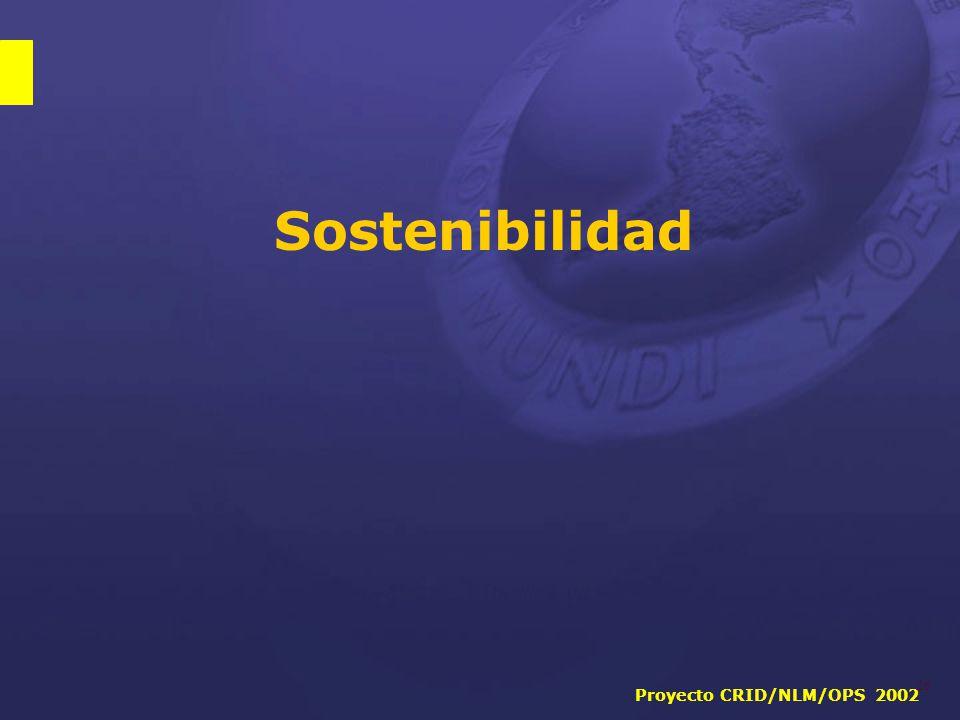 Proyecto CRID/NLM/OPS 2002 26 Sostenibilidad
