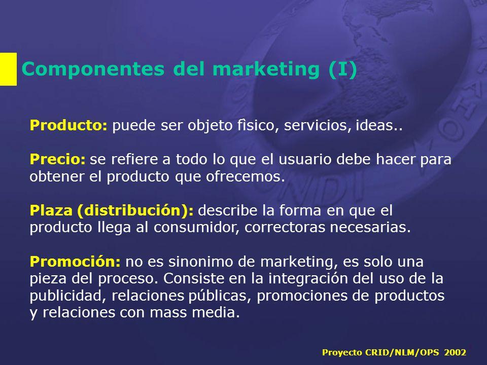 Proyecto CRID/NLM/OPS 2002 7 Componentes del marketing (I) Producto: puede ser objeto fìsico, servicios, ideas..