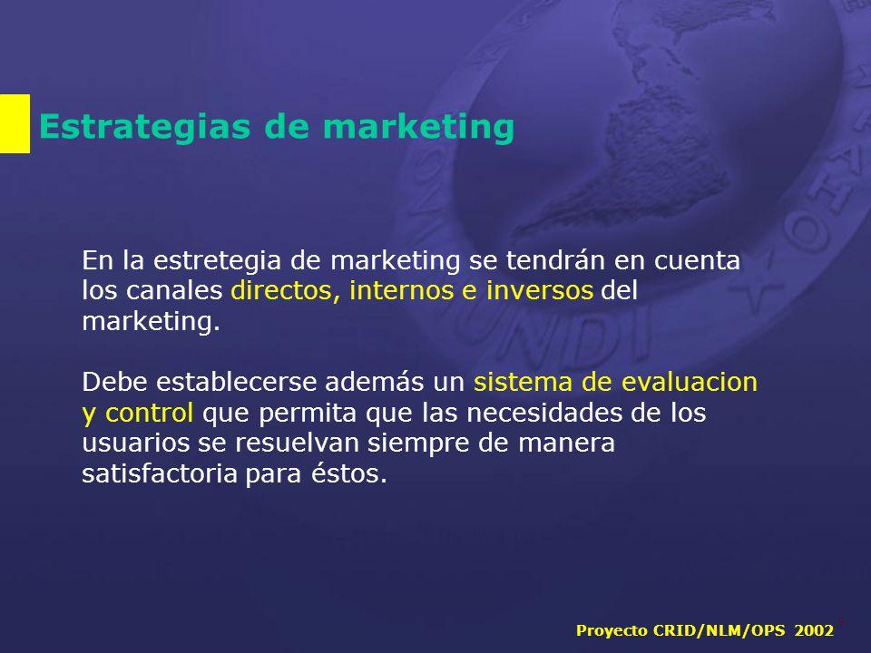 Proyecto CRID/NLM/OPS 2002 9 Estrategias de marketing En la estretegia de marketing se tendrán en cuenta los canales directos, internos e inversos del marketing.