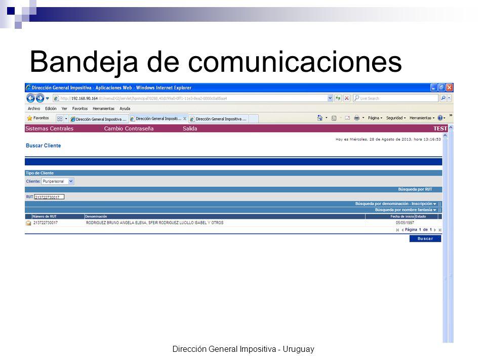 Dirección General Impositiva - Uruguay Bandeja de comunicaciones
