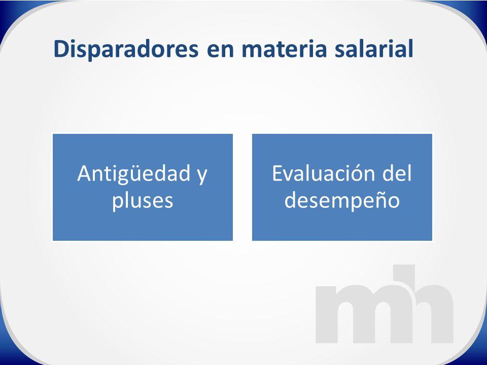 Disparadores en materia salarial Antigüedad y pluses Evaluación del desempeño