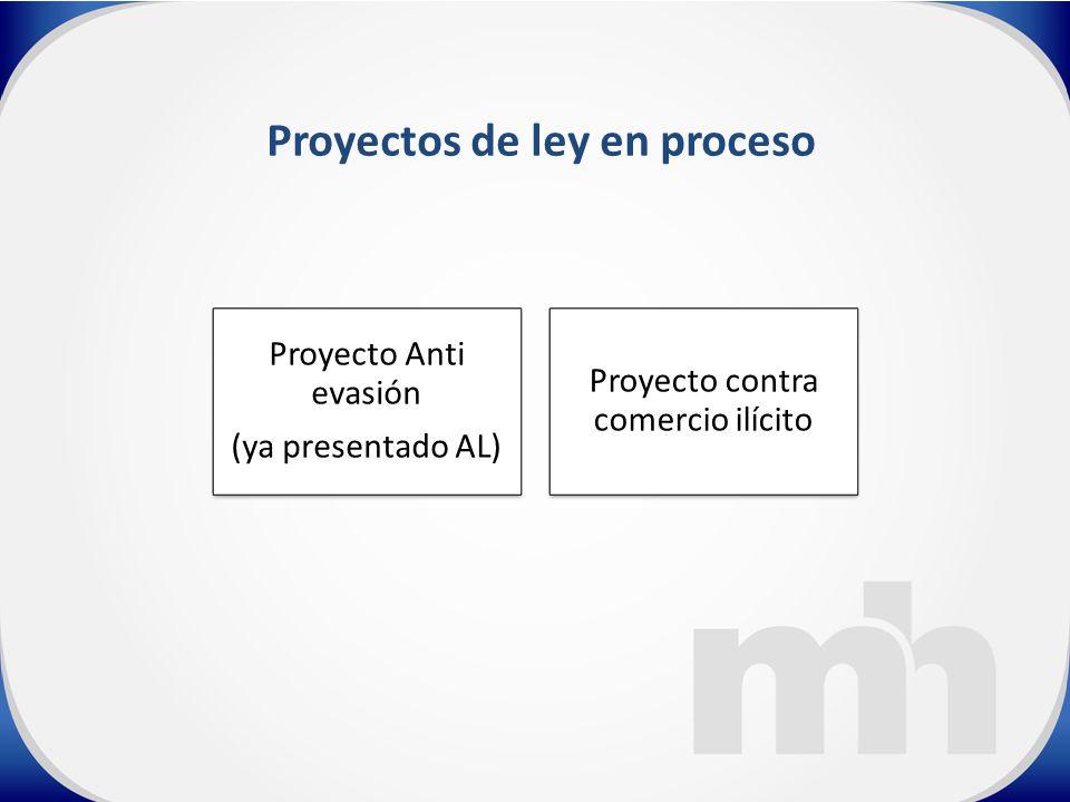 Proyecto Anti evasión (ya presentado AL) Proyecto contra comercio ilícito Proyectos de ley en proceso