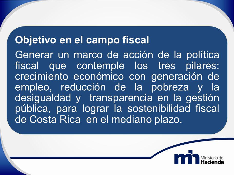 Objetivo en el campo fiscal Generar un marco de acción de la política fiscal que contemple los tres pilares: crecimiento económico con generación de empleo, reducción de la pobreza y la desigualdad y transparencia en la gestión pública, para lograr la sostenibilidad fiscal de Costa Rica en el mediano plazo.