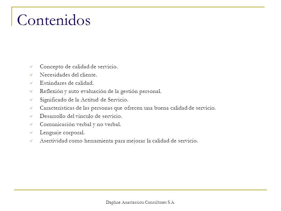 Daphne Anastassiou Consultores S.A. Contenidos Concepto de calidad de servicio.