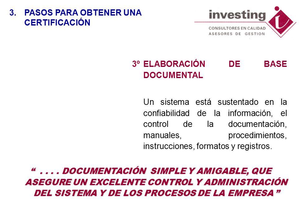 3ºELABORACIÓN DE BASE DOCUMENTAL Un sistema está sustentado en la confiabilidad de la información, el control de la documentación, manuales, procedimientos, instrucciones, formatos y registros.