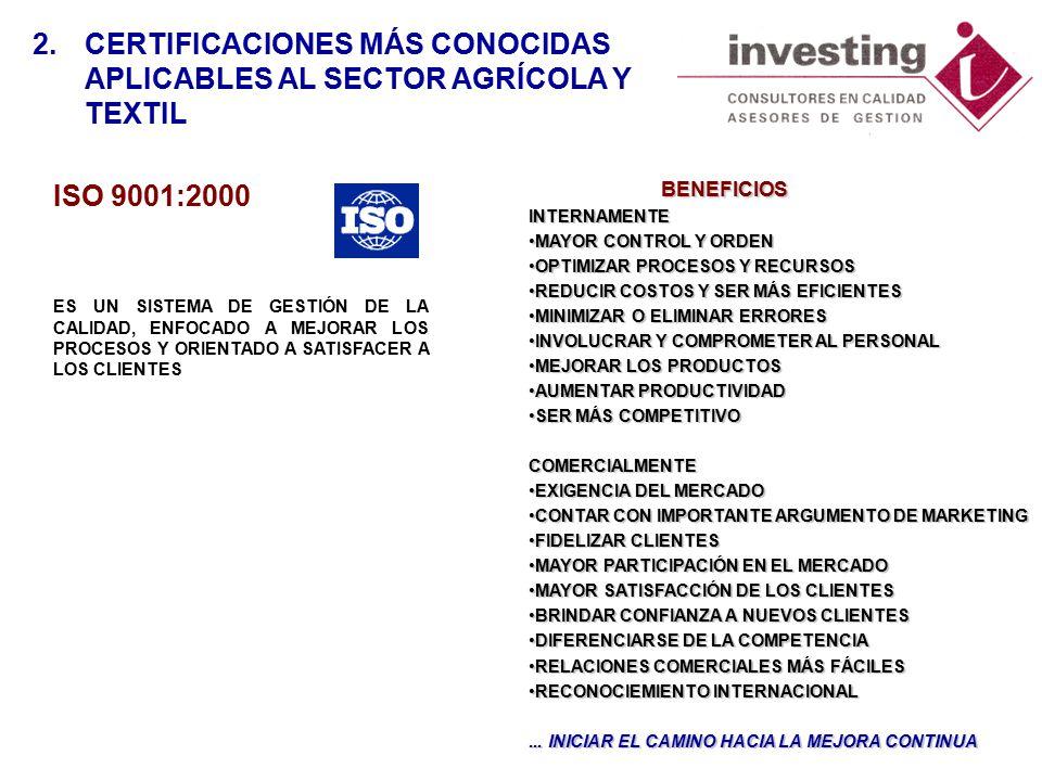 ISO 9001:2000 ES UN SISTEMA DE GESTIÓN DE LA CALIDAD, ENFOCADO A MEJORAR LOS PROCESOS Y ORIENTADO A SATISFACER A LOS CLIENTES 2.CERTIFICACIONES MÁS CONOCIDAS APLICABLES AL SECTOR AGRÍCOLA Y TEXTIL BENEFICIOS BENEFICIOSINTERNAMENTE MAYOR CONTROL Y ORDENMAYOR CONTROL Y ORDEN OPTIMIZAR PROCESOS Y RECURSOSOPTIMIZAR PROCESOS Y RECURSOS REDUCIR COSTOS Y SER MÁS EFICIENTESREDUCIR COSTOS Y SER MÁS EFICIENTES MINIMIZAR O ELIMINAR ERRORESMINIMIZAR O ELIMINAR ERRORES INVOLUCRAR Y COMPROMETER AL PERSONALINVOLUCRAR Y COMPROMETER AL PERSONAL MEJORAR LOS PRODUCTOSMEJORAR LOS PRODUCTOS AUMENTAR PRODUCTIVIDADAUMENTAR PRODUCTIVIDAD SER MÁS COMPETITIVOSER MÁS COMPETITIVOCOMERCIALMENTE EXIGENCIA DEL MERCADOEXIGENCIA DEL MERCADO CONTAR CON IMPORTANTE ARGUMENTO DE MARKETINGCONTAR CON IMPORTANTE ARGUMENTO DE MARKETING FIDELIZAR CLIENTESFIDELIZAR CLIENTES MAYOR PARTICIPACIÓN EN EL MERCADOMAYOR PARTICIPACIÓN EN EL MERCADO MAYOR SATISFACCIÓN DE LOS CLIENTESMAYOR SATISFACCIÓN DE LOS CLIENTES BRINDAR CONFIANZA A NUEVOS CLIENTESBRINDAR CONFIANZA A NUEVOS CLIENTES DIFERENCIARSE DE LA COMPETENCIADIFERENCIARSE DE LA COMPETENCIA RELACIONES COMERCIALES MÁS FÁCILESRELACIONES COMERCIALES MÁS FÁCILES RECONOCIEMIENTO INTERNACIONALRECONOCIEMIENTO INTERNACIONAL...