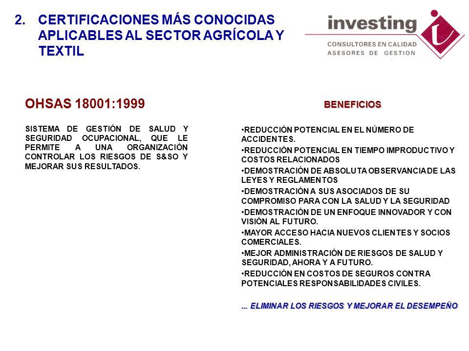 OHSAS 18001:1999 SISTEMA DE GESTIÓN DE SALUD Y SEGURIDAD OCUPACIONAL, QUE LE PERMITE A UNA ORGANIZACIÓN CONTROLAR LOS RIESGOS DE S&SO Y MEJORAR SUS RESULTADOS.