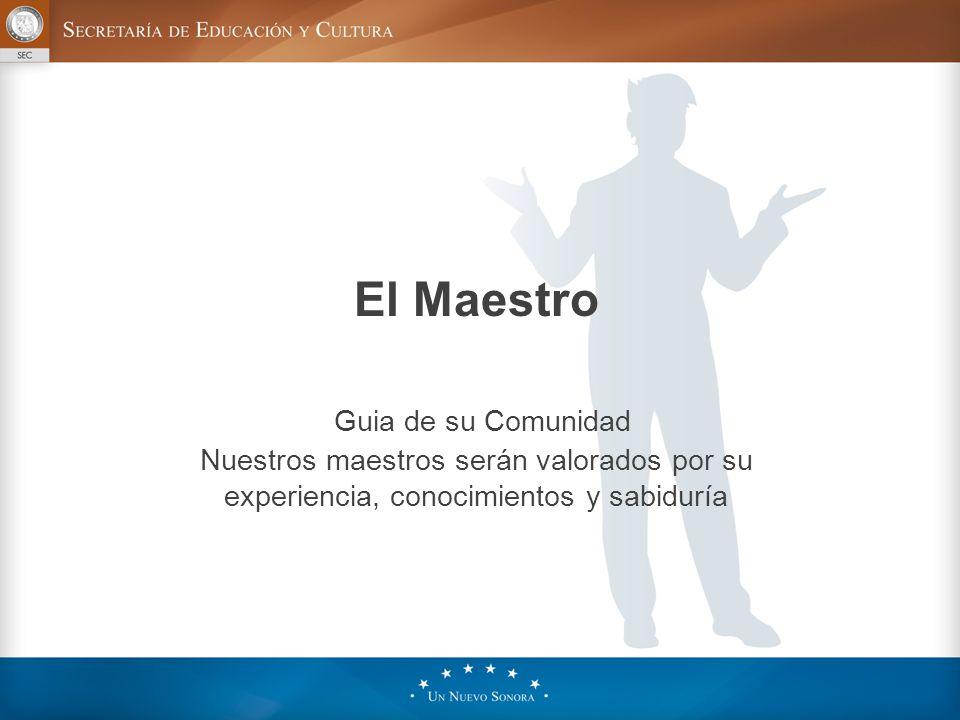 El Maestro Guia de su Comunidad Nuestros maestros serán valorados por su experiencia, conocimientos y sabiduría