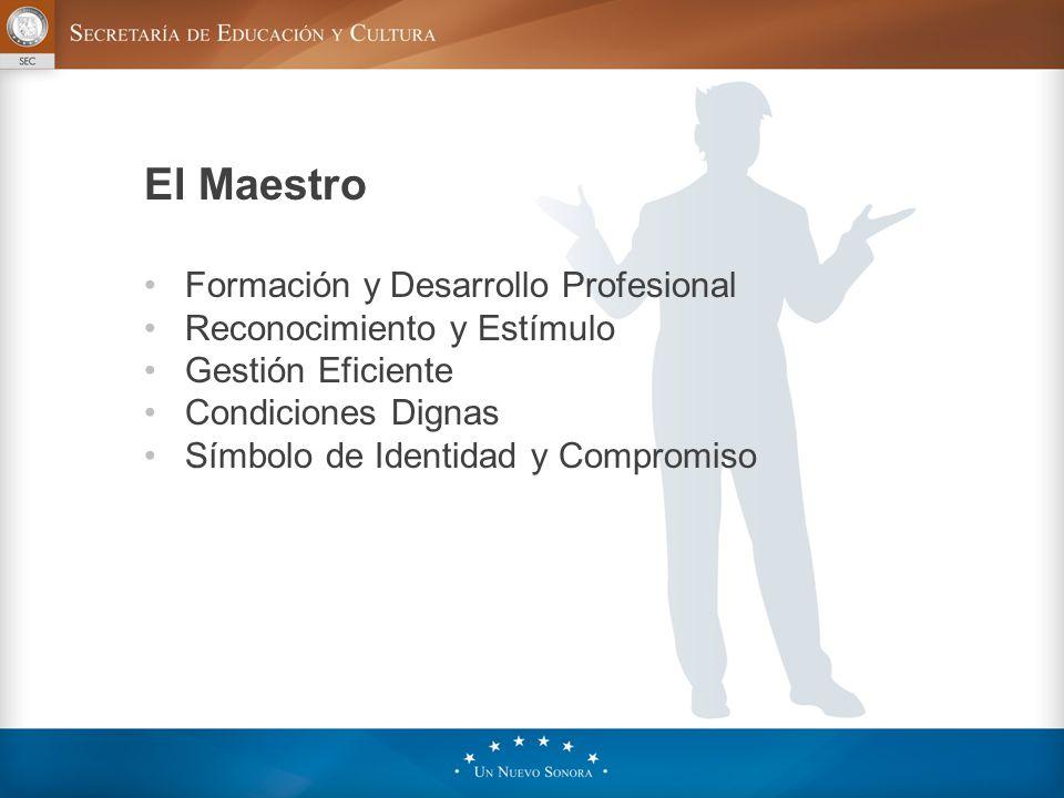 Formación y Desarrollo Profesional Reconocimiento y Estímulo Gestión Eficiente Condiciones Dignas Símbolo de Identidad y Compromiso El Maestro