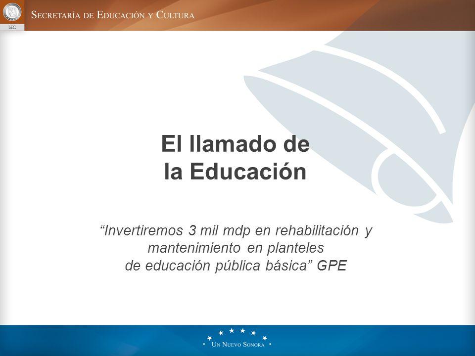 El llamado de la Educación Invertiremos 3 mil mdp en rehabilitación y mantenimiento en planteles de educación pública básica GPE