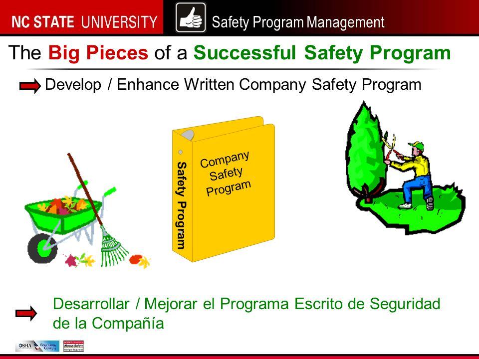 Safety Program Management Develop / Enhance Written Company Safety Program The Big Pieces of a Successful Safety Program Company Safety Program Safety Program Desarrollar / Mejorar el Programa Escrito de Seguridad de la Compañía