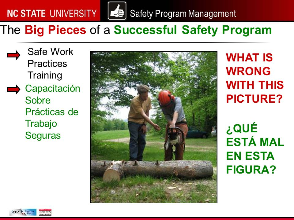 Safety Program Management Safe Work Practices Training The Big Pieces of a Successful Safety Program WHAT IS WRONG WITH THIS PICTURE.