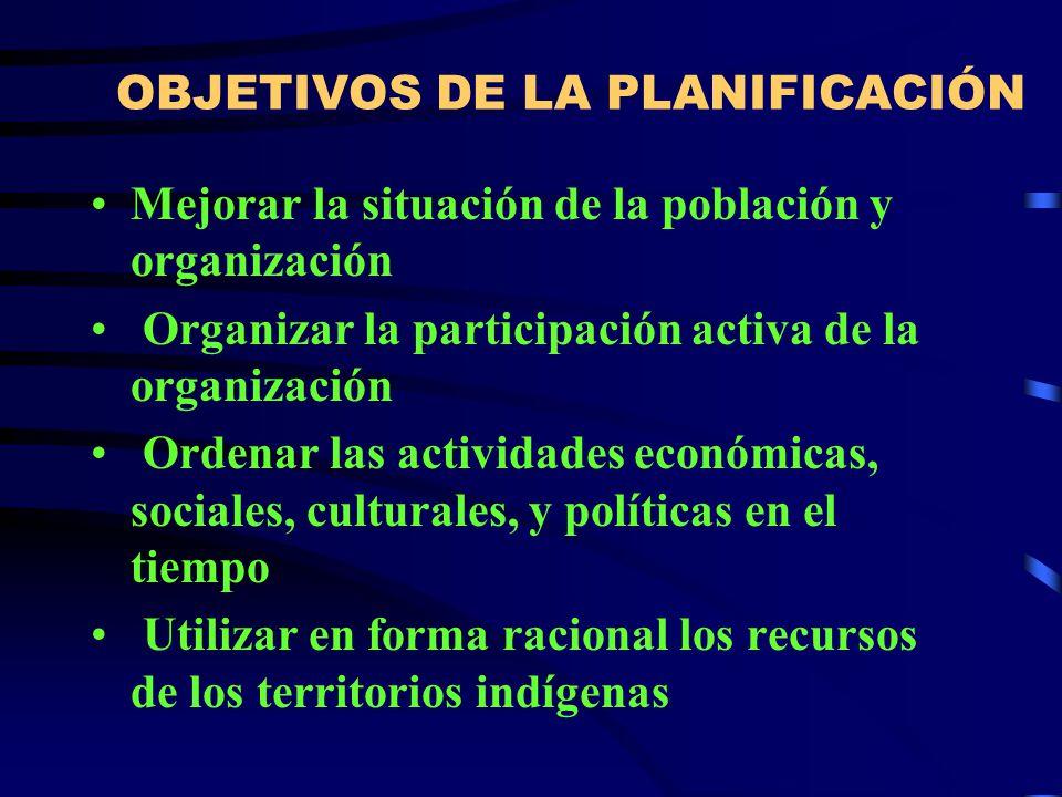 FINALIDAD DE LA PLANIFICACIÓN Producir cambios para mejorar la situación actual de desarrollo de la organización de pueblos indígenas y su territorio Dar directrices de acción y funcionamiento para los miembros de la organización en el manejo y administración de los territorios indígenas.