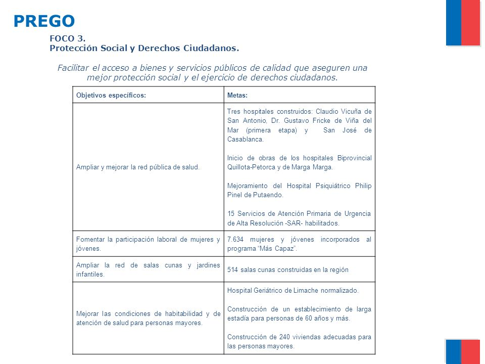 PREGO FOCO 3. Protección Social y Derechos Ciudadanos.