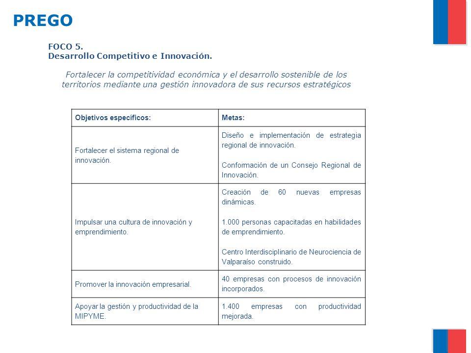 PREGO FOCO 5. Desarrollo Competitivo e Innovación.