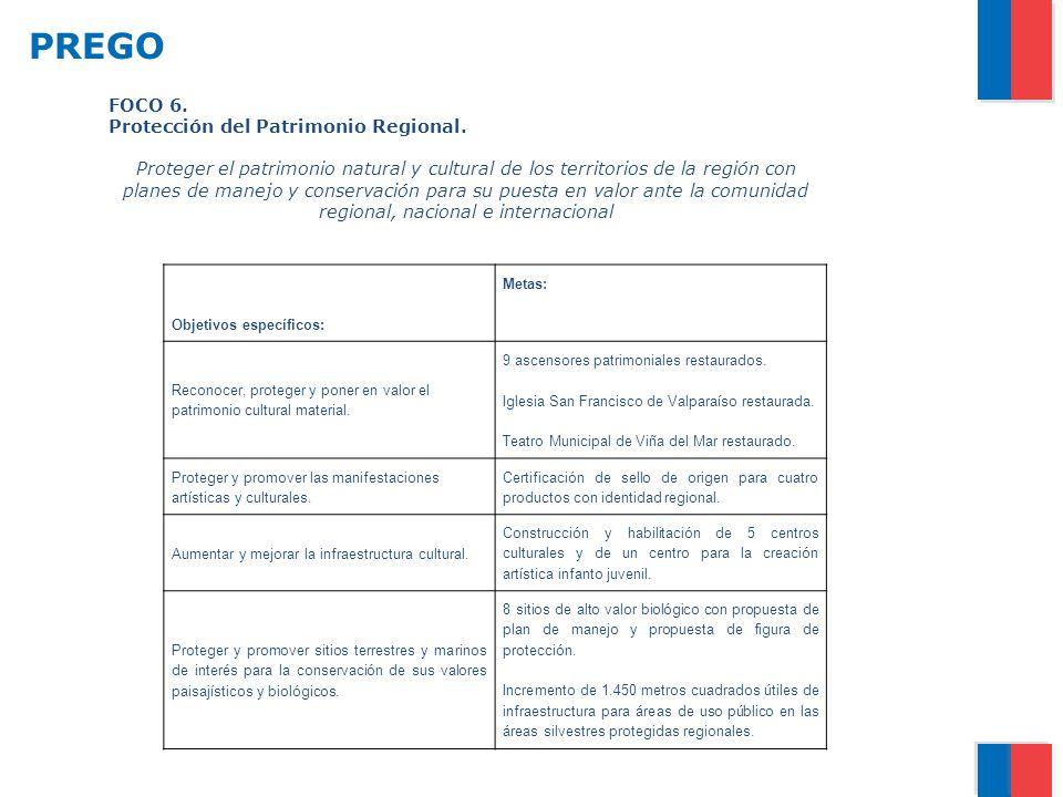 PREGO FOCO 6. Protección del Patrimonio Regional.
