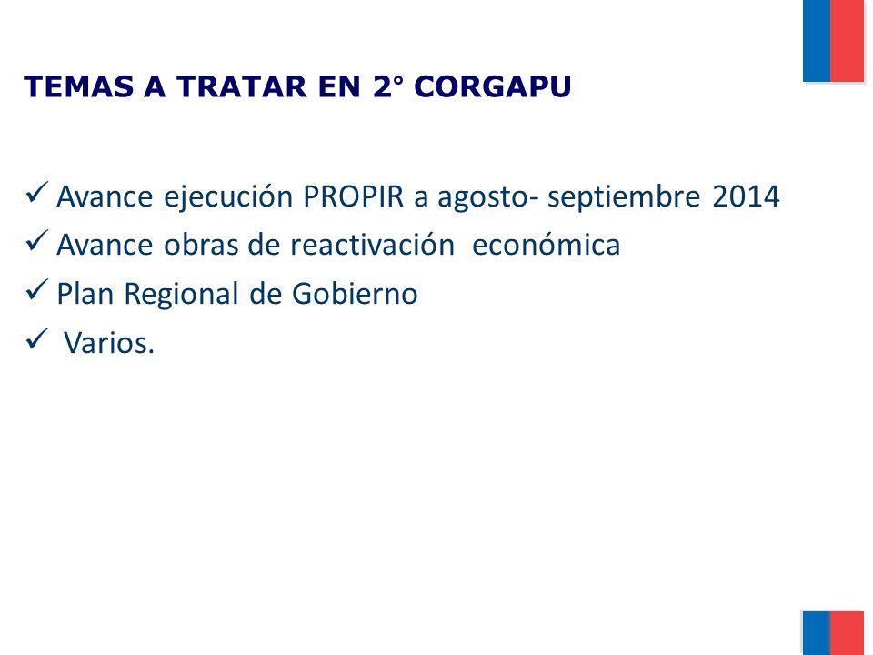 TEMAS A TRATAR EN 2° CORGAPU Avance ejecución PROPIR a agosto- septiembre 2014 Avance obras de reactivación económica Plan Regional de Gobierno Varios.