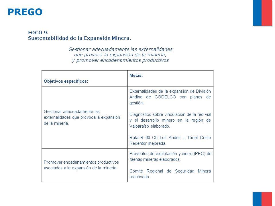 PREGO FOCO 9. Sustentabilidad de la Expansión Minera.